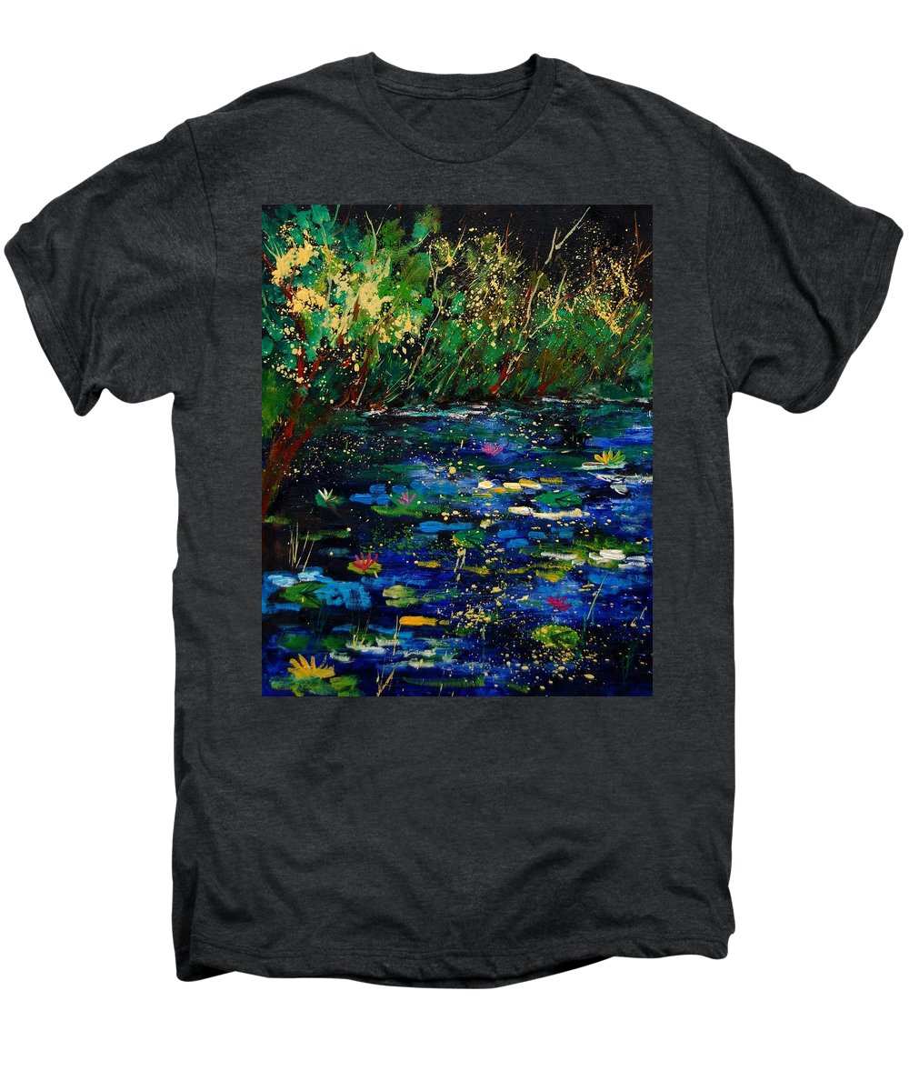 Water Men's Premium T-Shirt featuring the painting Pond 459030 by Pol Ledent