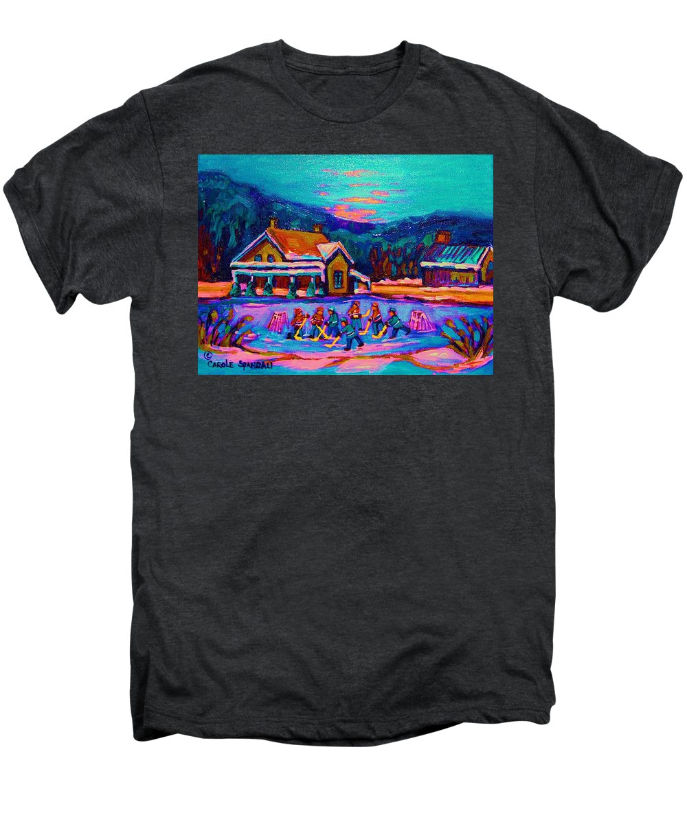 Pond Hockey Men's Premium T-Shirt featuring the painting Pond Hockey Two by Carole Spandau