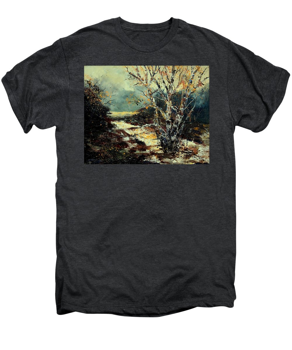 Tree Men's Premium T-Shirt featuring the painting Poplars 45 by Pol Ledent