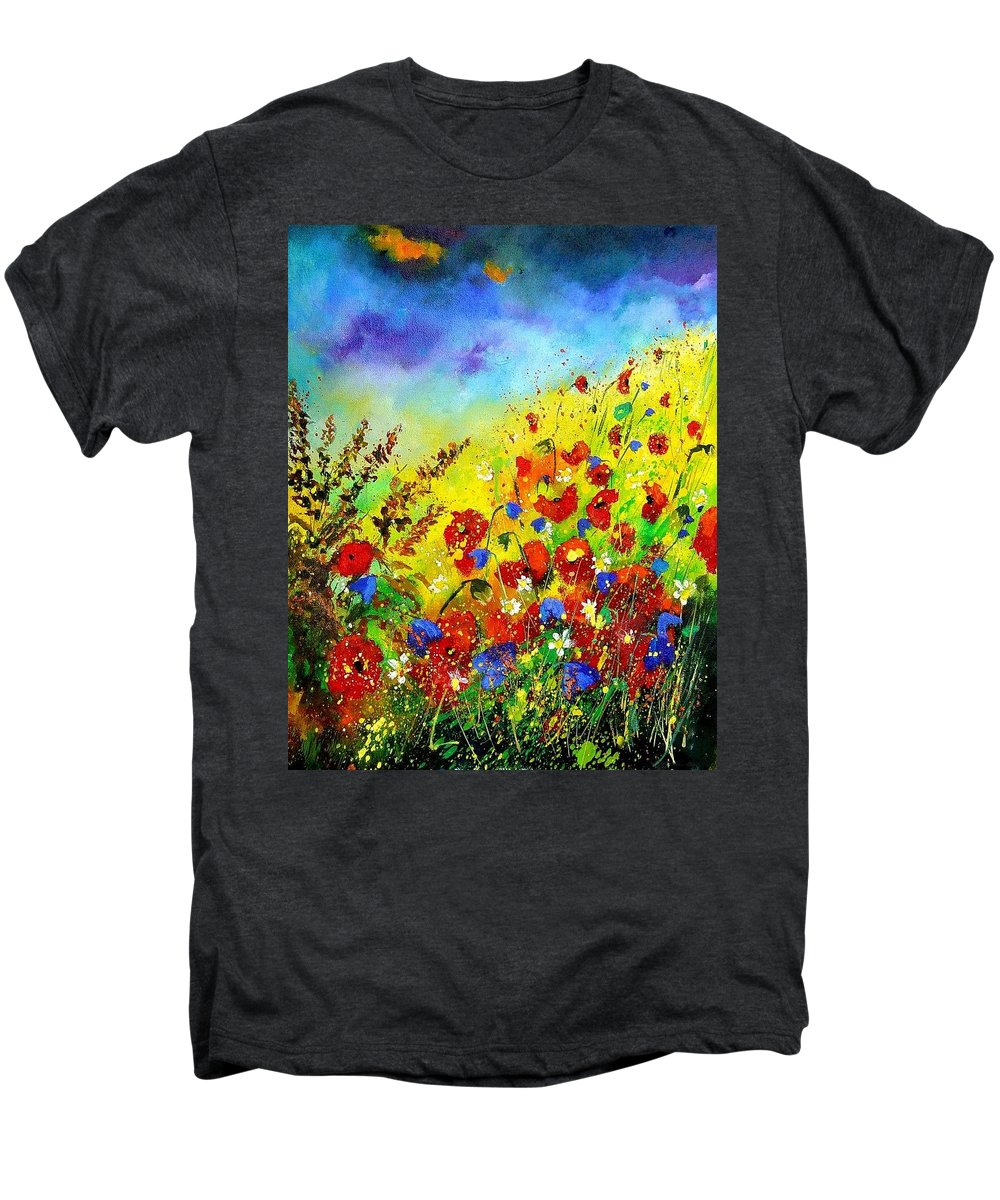 Poppies Men's Premium T-Shirt featuring the print Poppies And Blue Bells by Pol Ledent