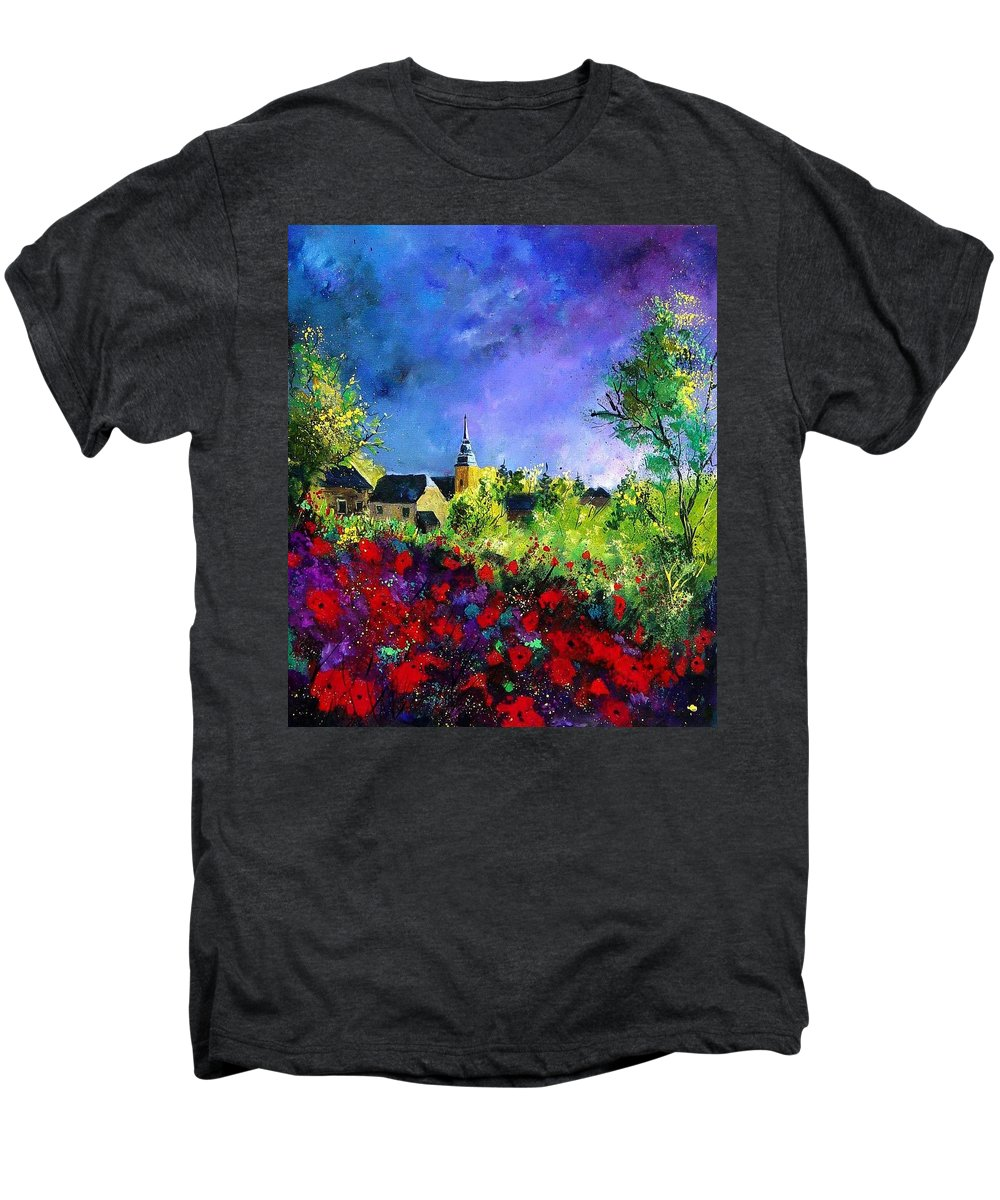 Flowers Men's Premium T-Shirt featuring the painting Poppies In Villers by Pol Ledent