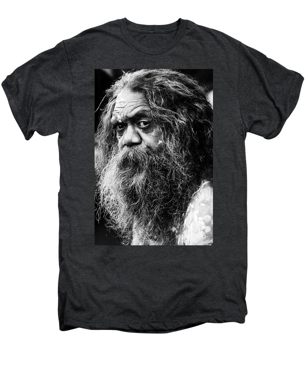 Aborigine Aboriginal Australian Men's Premium T-Shirt featuring the photograph Portrait Of An Australian Aborigine by Avalon Fine Art Photography