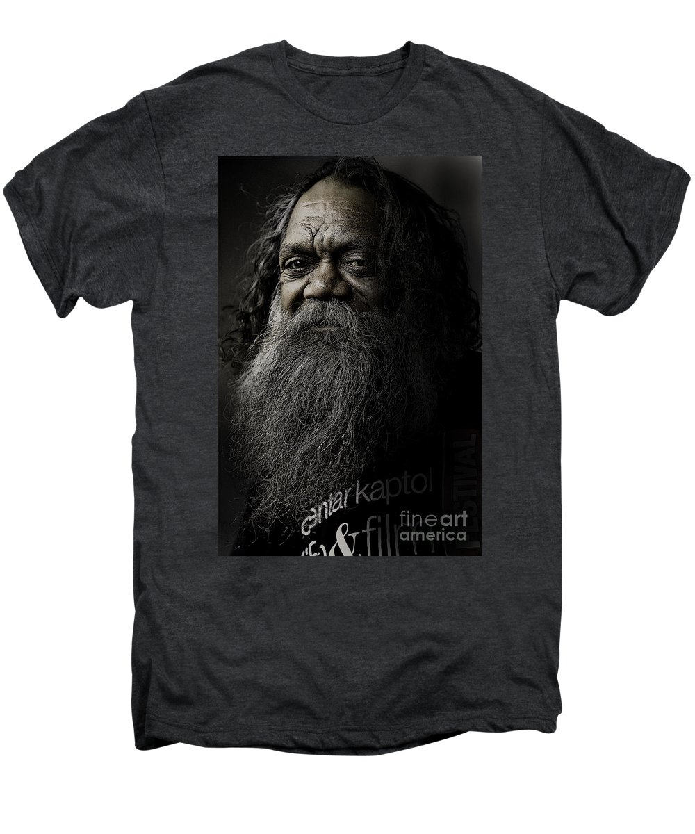 Aboriginal Men's Premium T-Shirt featuring the photograph Portrait Of Cedric by Sheila Smart Fine Art Photography