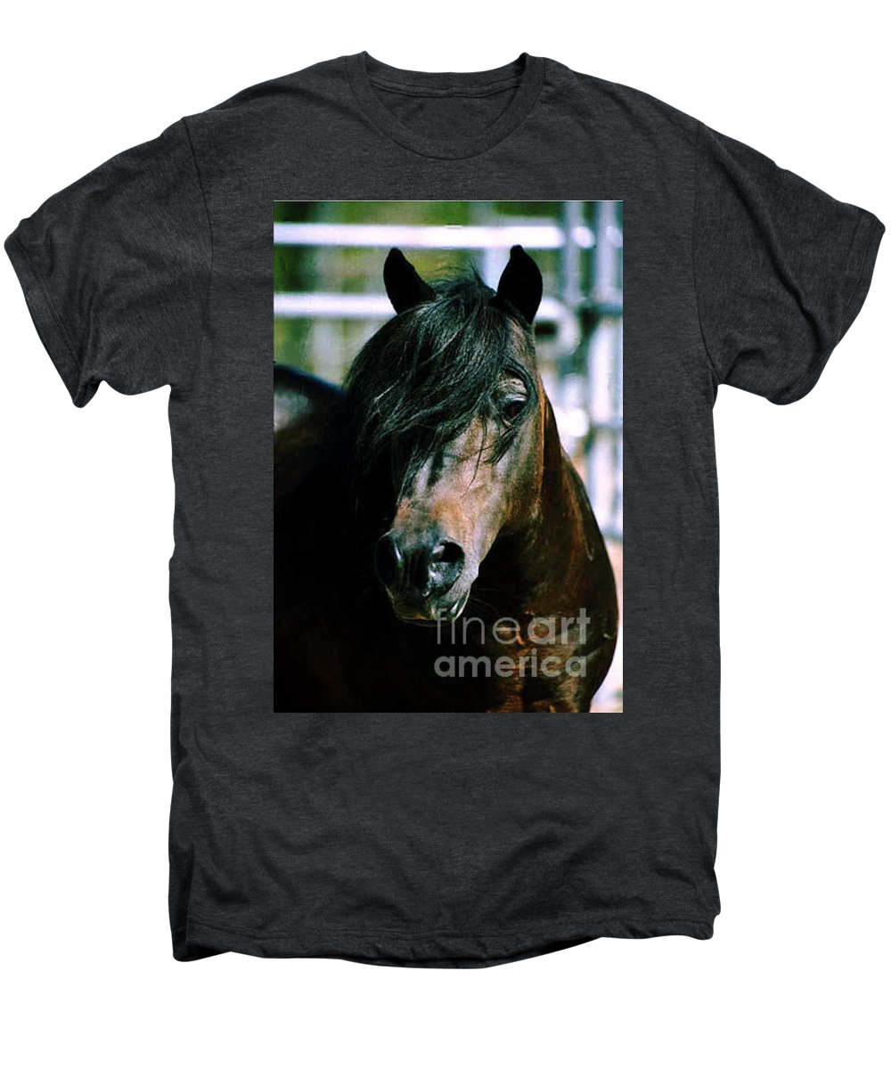Horse Men's Premium T-Shirt featuring the photograph Portrait Of His Majesty - The King by Kathy McClure