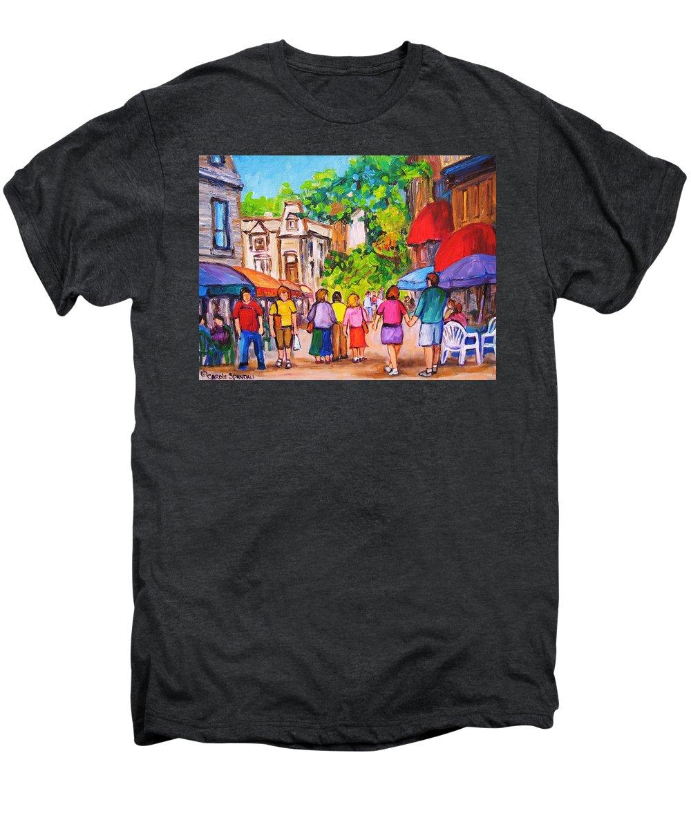 Rue Prince Arthur Montreal Street Scenes Men's Premium T-Shirt featuring the painting Prince Arthur Street Montreal by Carole Spandau