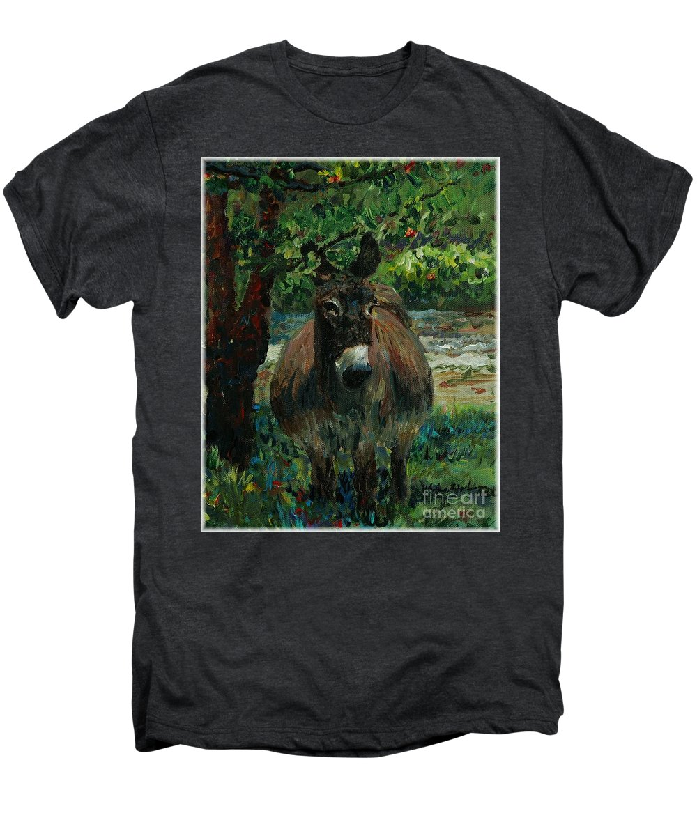 Donkey Men's Premium T-Shirt featuring the painting Provence Donkey by Nadine Rippelmeyer