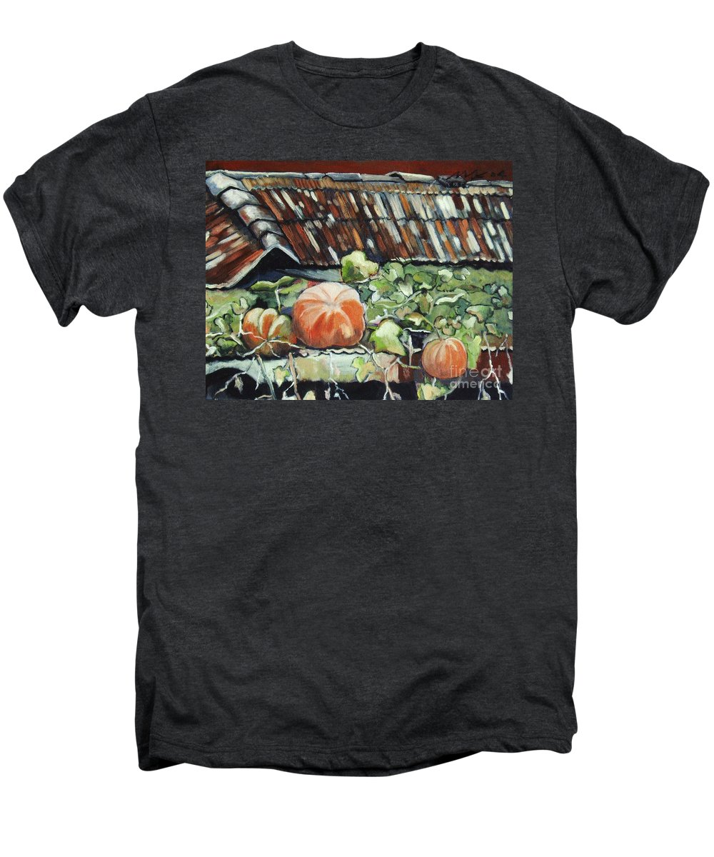 Pumpkin Paintings Men's Premium T-Shirt featuring the painting Pumpkins On Roof by Seon-Jeong Kim