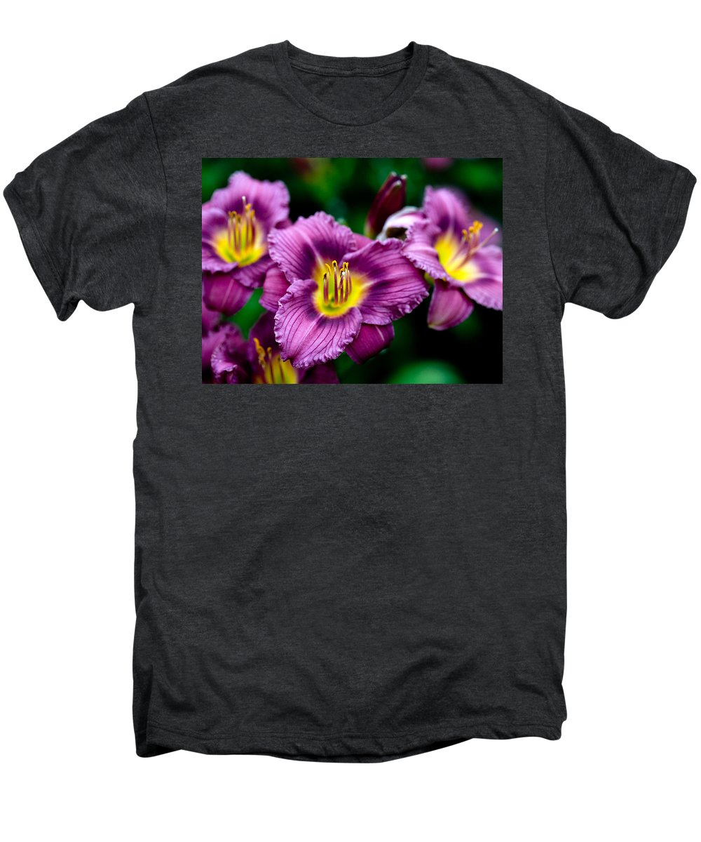 Flower Men's Premium T-Shirt featuring the photograph Purple Day Lillies by Marilyn Hunt
