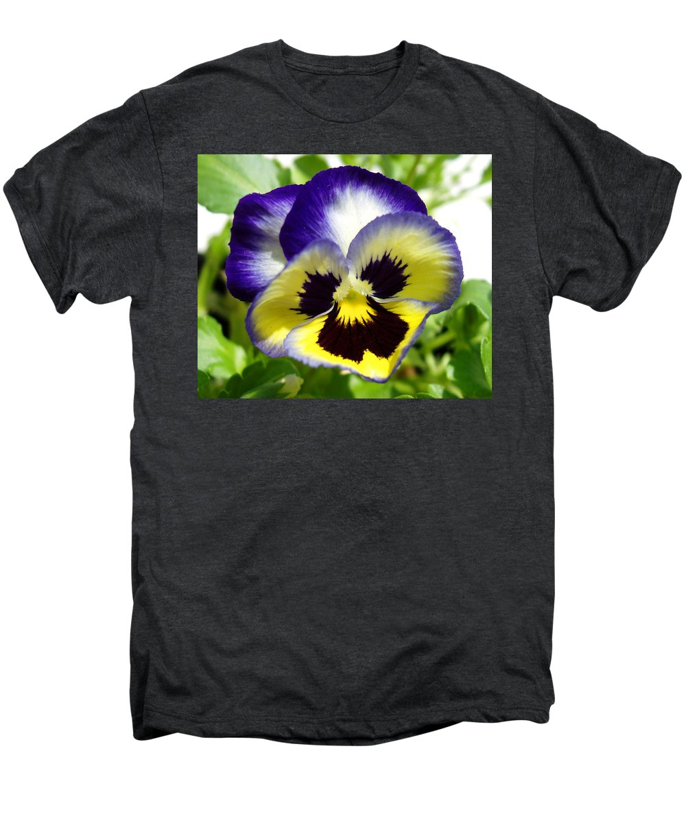 Pansy Men's Premium T-Shirt featuring the photograph Purple White And Yellow Pansy by Nancy Mueller