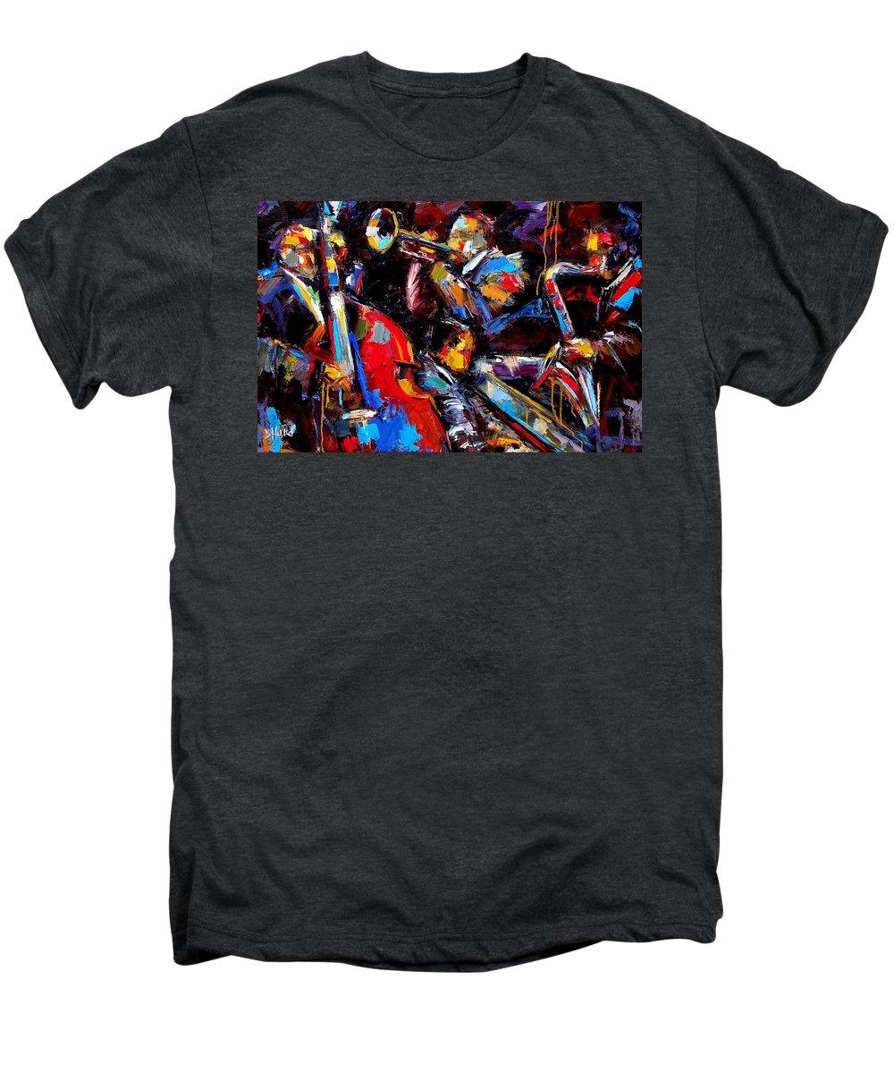 Jazz Paintings Men's Premium T-Shirt featuring the painting Quartet by Debra Hurd