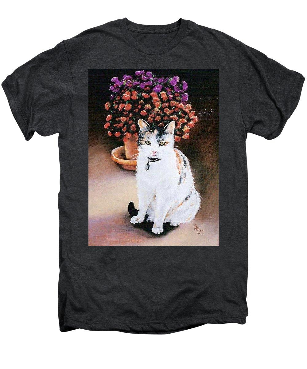Cat Men's Premium T-Shirt featuring the pastel Queen Marishka by Gale Cochran-Smith