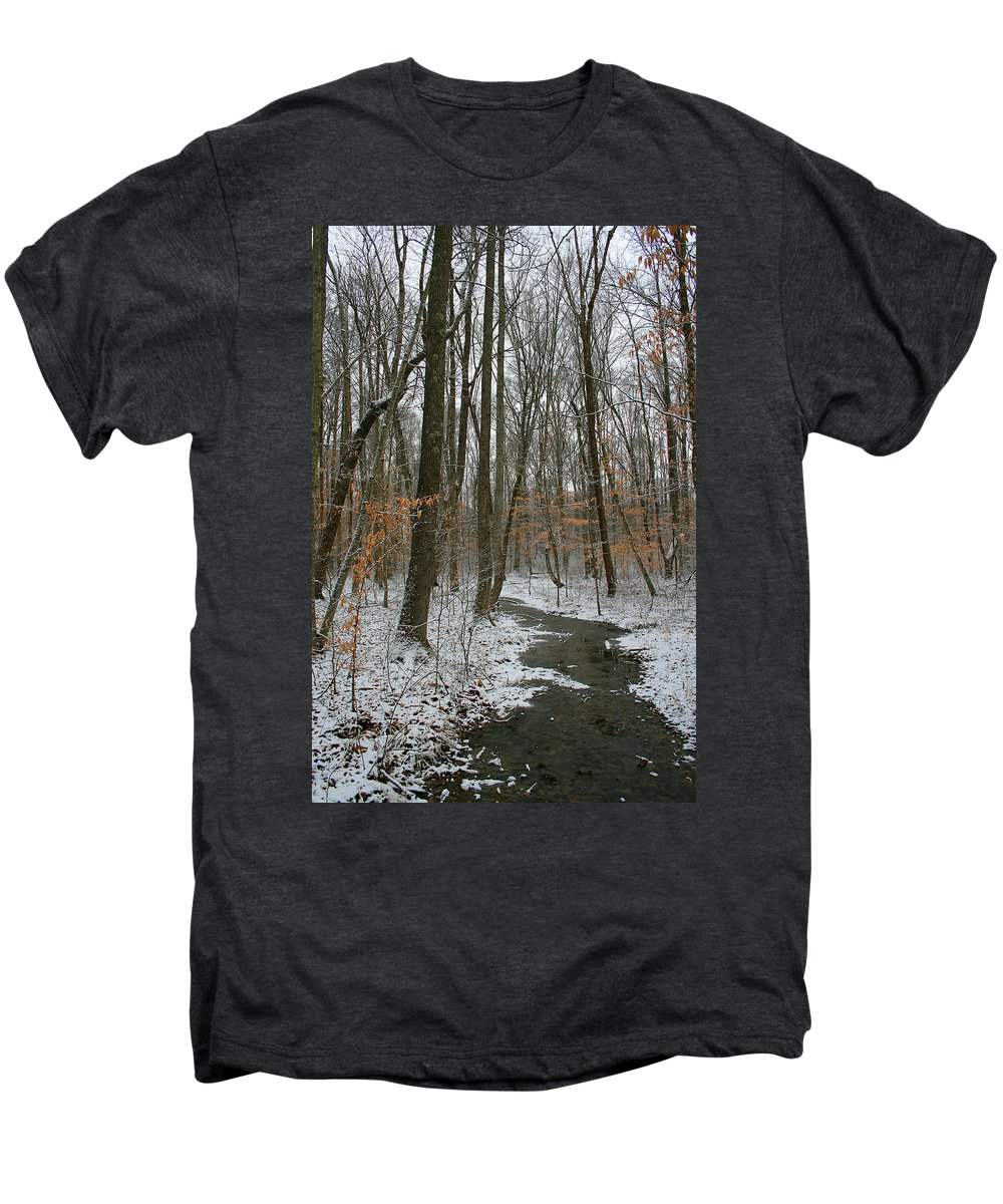 Forest Woods Water Winter Tree Snow Cold Season Nature Men's Premium T-Shirt featuring the photograph Quite Path by Andrei Shliakhau