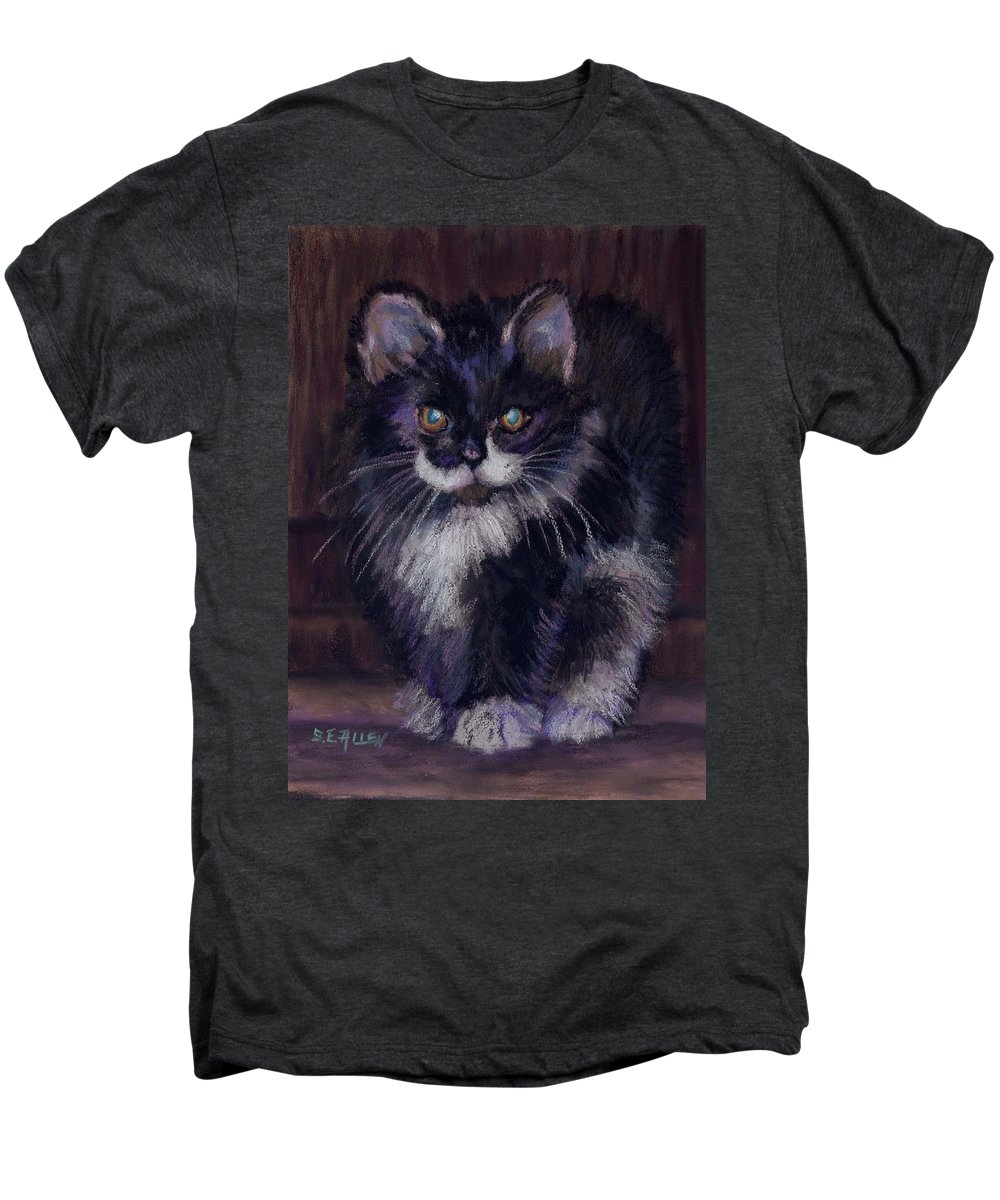 Kitten Men's Premium T-Shirt featuring the painting Ready For Trouble by Sharon E Allen