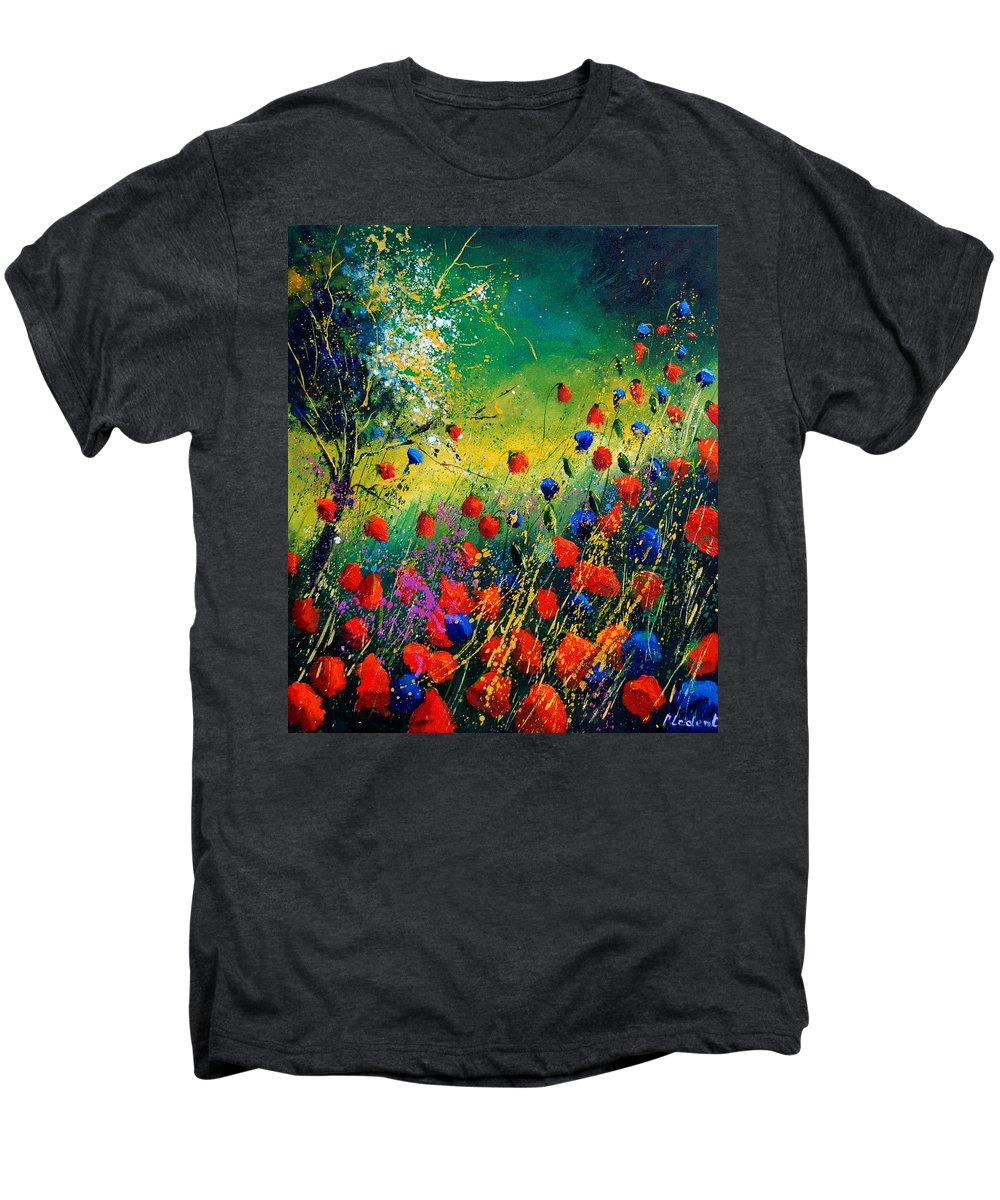 Flowers Men's Premium T-Shirt featuring the painting Red And Blue Poppies by Pol Ledent