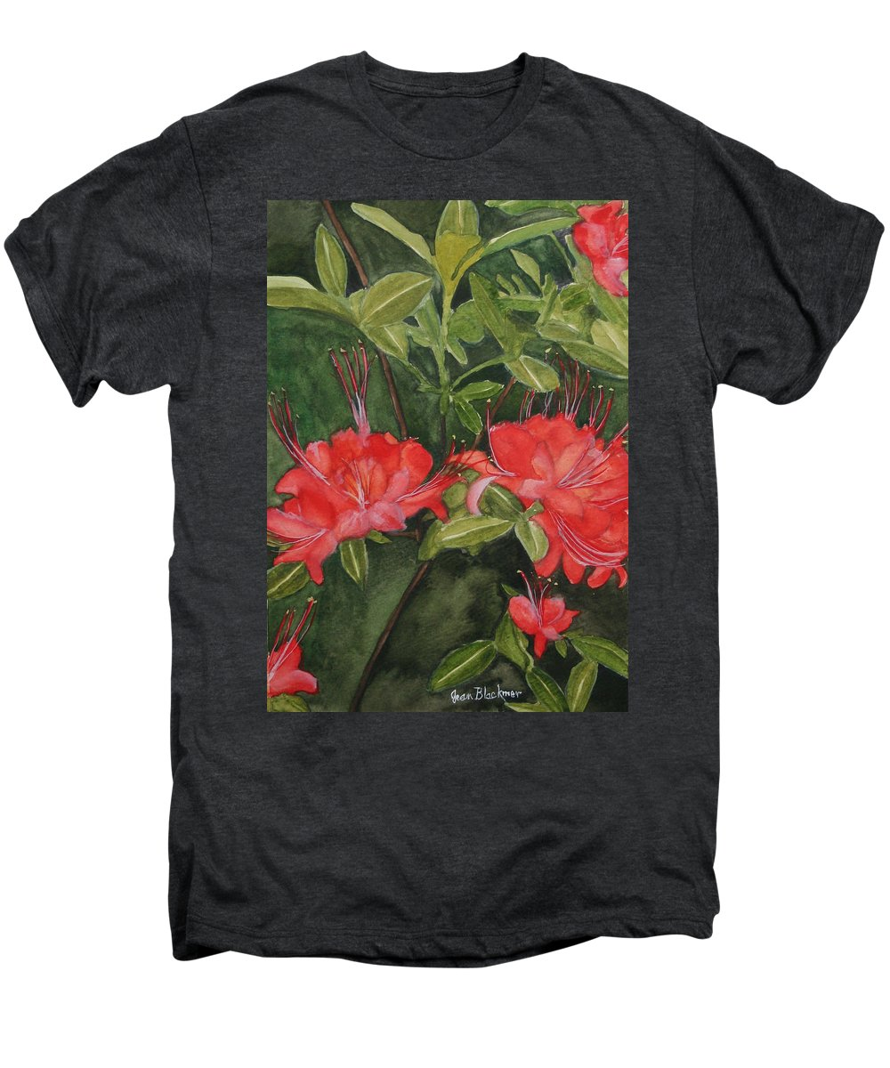 Flowers Men's Premium T-Shirt featuring the painting Red Blooms On The Parkway by Jean Blackmer