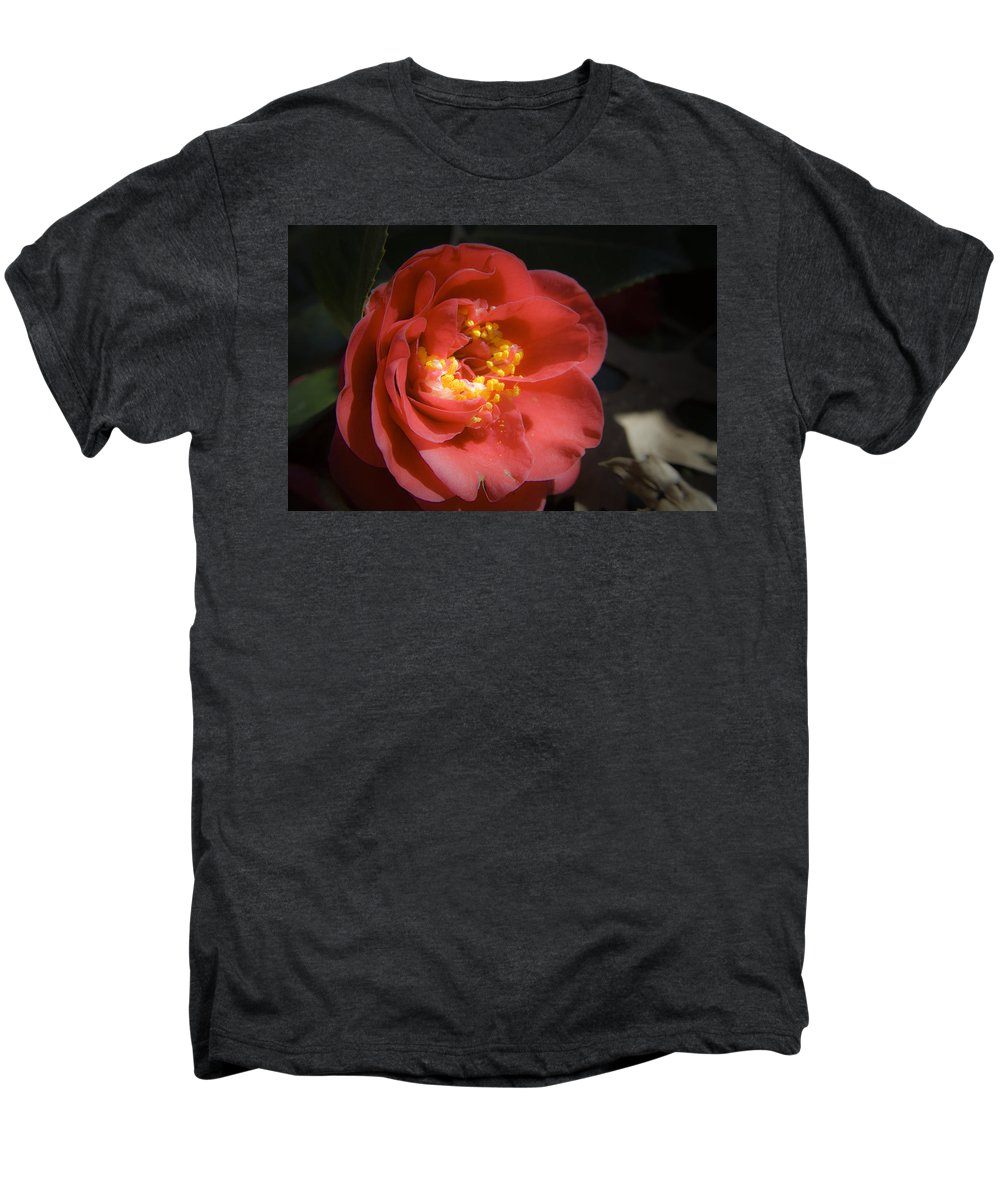 Camellia Men's Premium T-Shirt featuring the photograph Red Camellia Bloom by Teresa Mucha