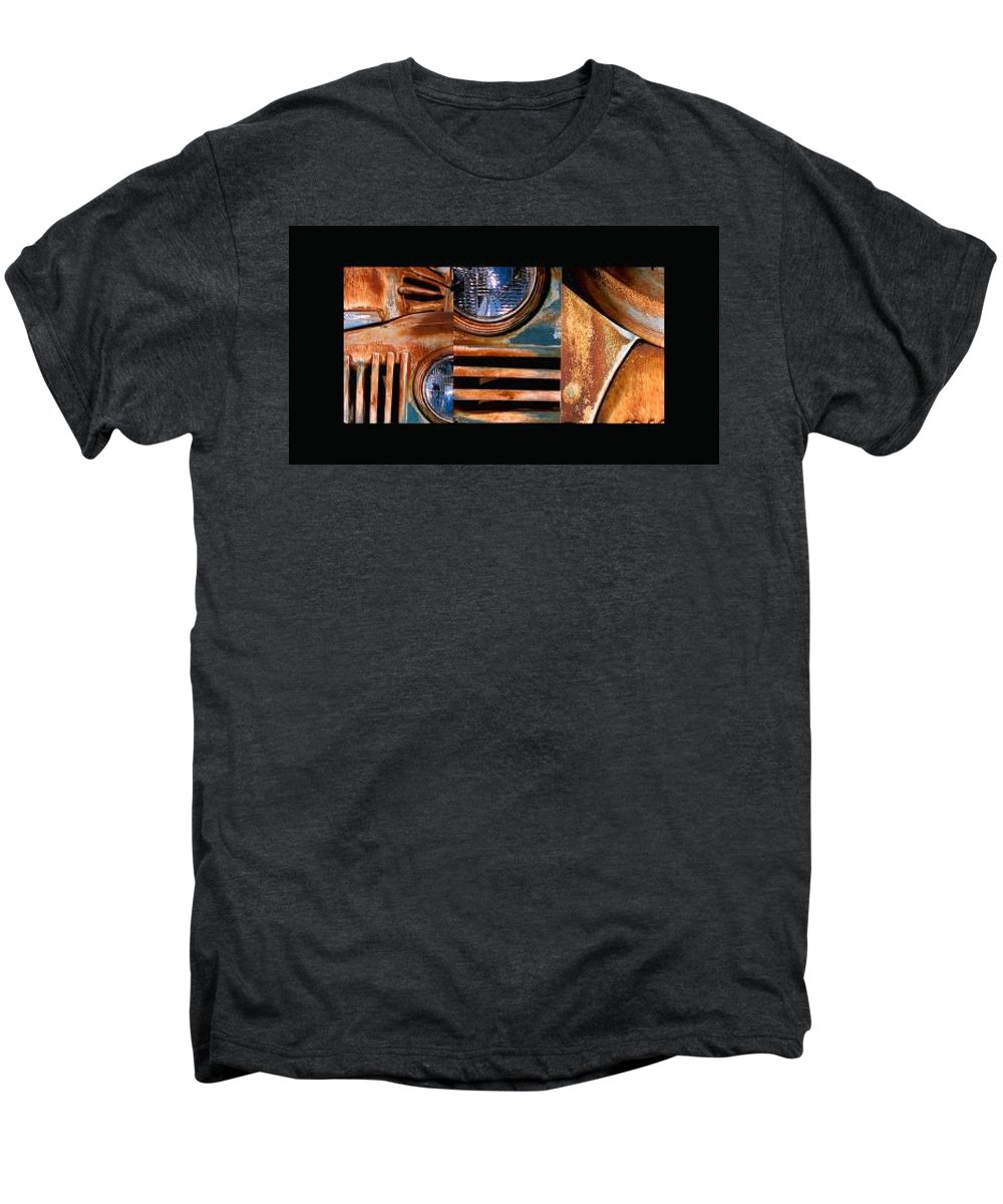 Abstract Photo Of Chevy Truck Men's Premium T-Shirt featuring the photograph Red Head On by Steve Karol