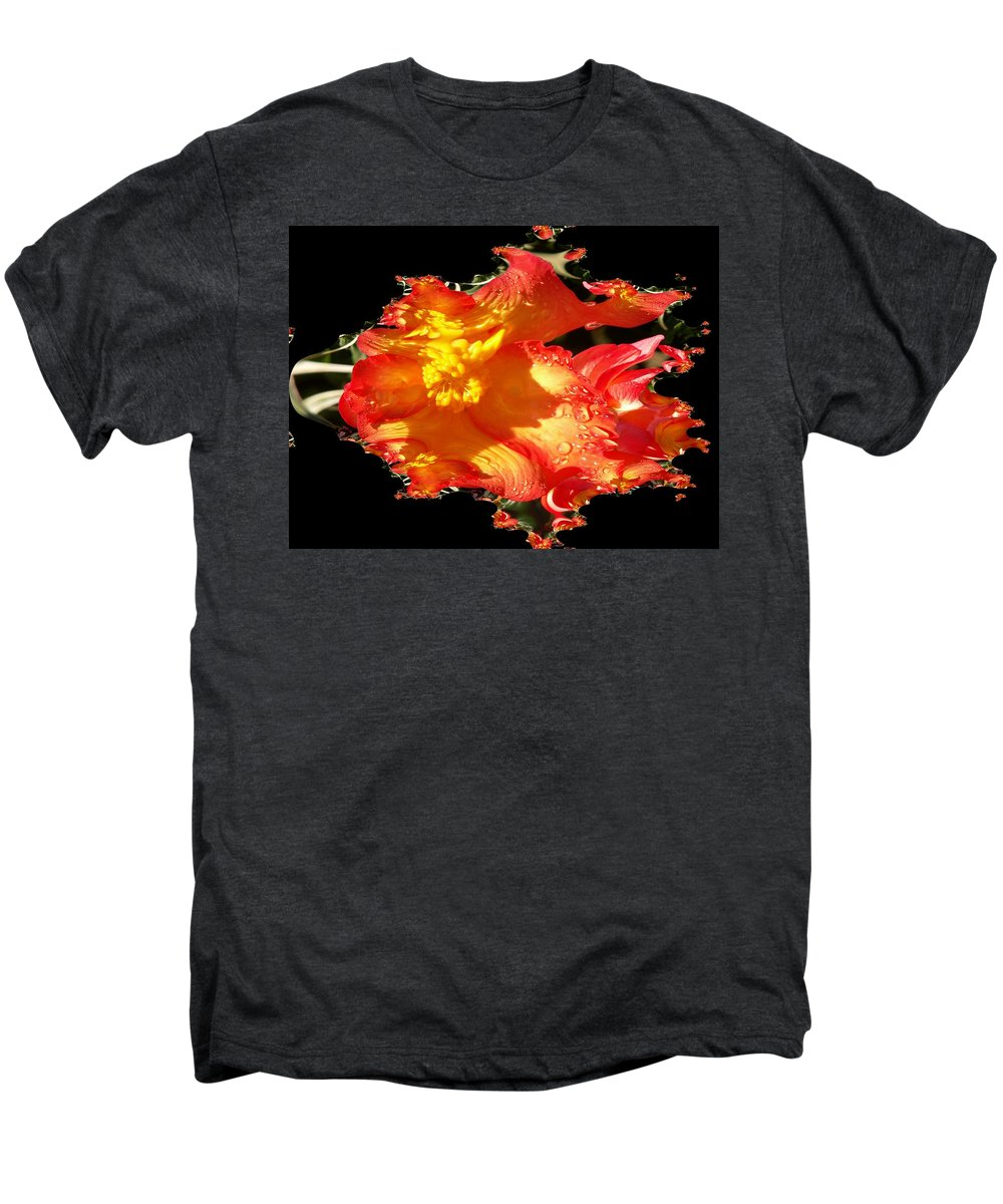 Flowers Men's Premium T-Shirt featuring the digital art Red N Yellow Flowers by Tim Allen