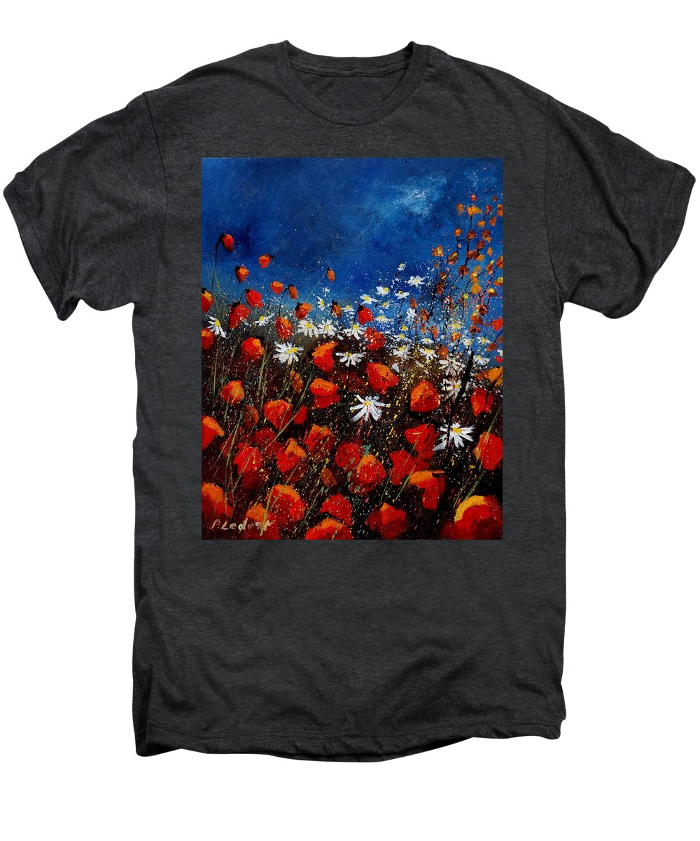Flowers Men's Premium T-Shirt featuring the painting Red Poppies 451108 by Pol Ledent