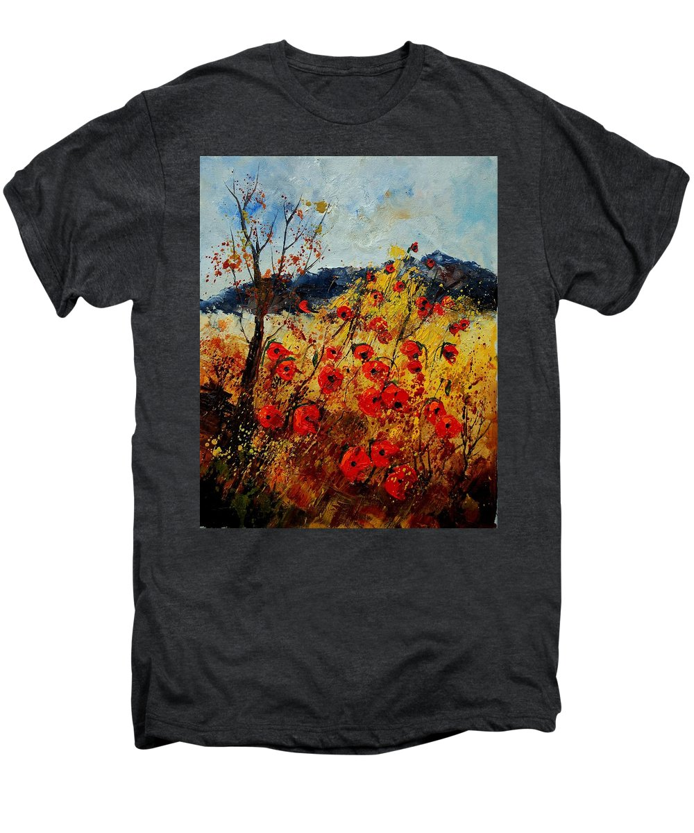 Poppies Men's Premium T-Shirt featuring the painting Red Poppies In Provence by Pol Ledent