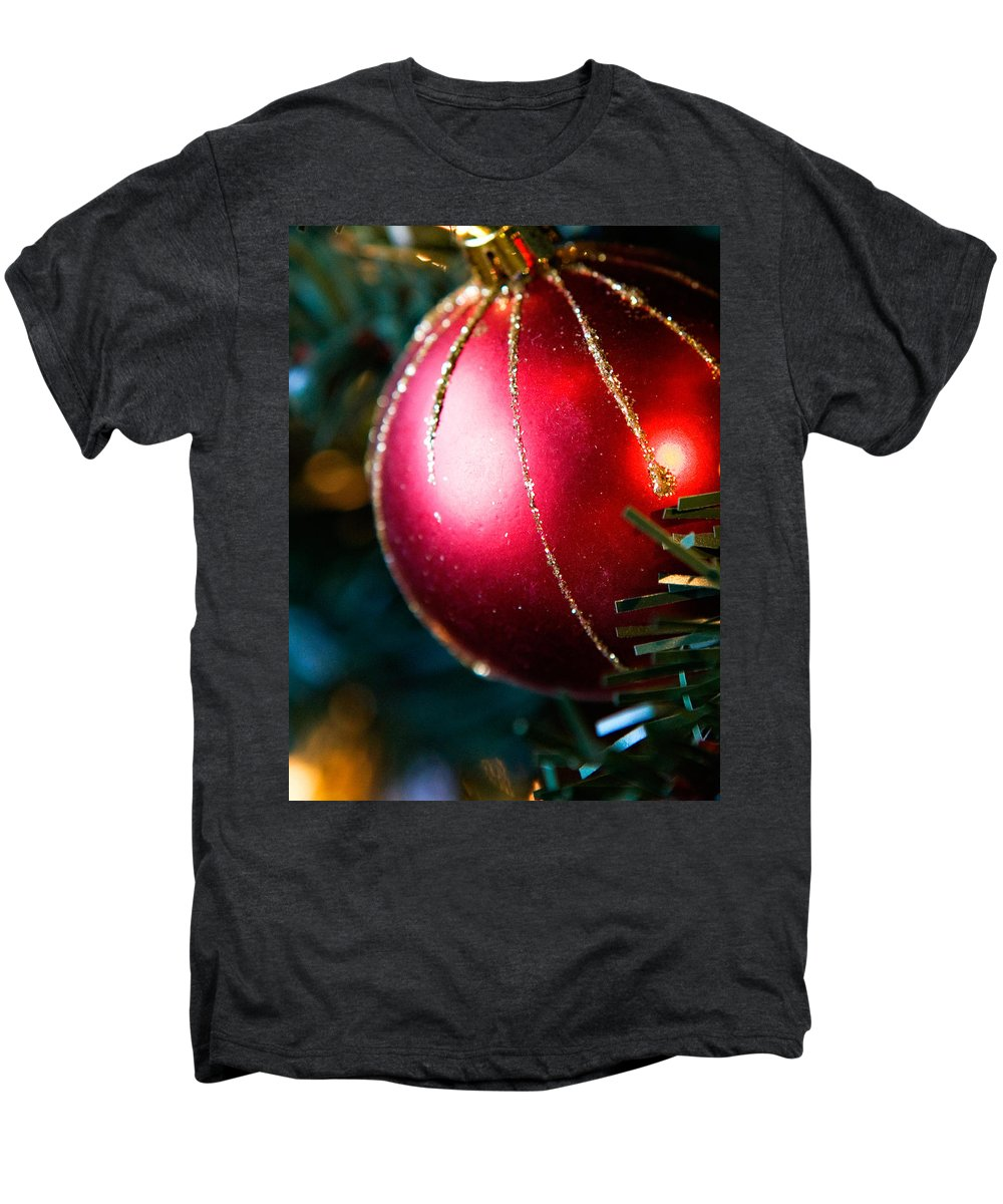 Red Men's Premium T-Shirt featuring the photograph Red Shiny Ornament by Marilyn Hunt
