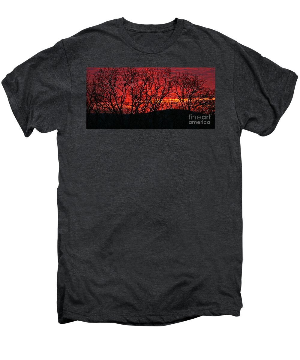 Sunrise Men's Premium T-Shirt featuring the photograph Red Sunrise Over The Ozarks by Nadine Rippelmeyer