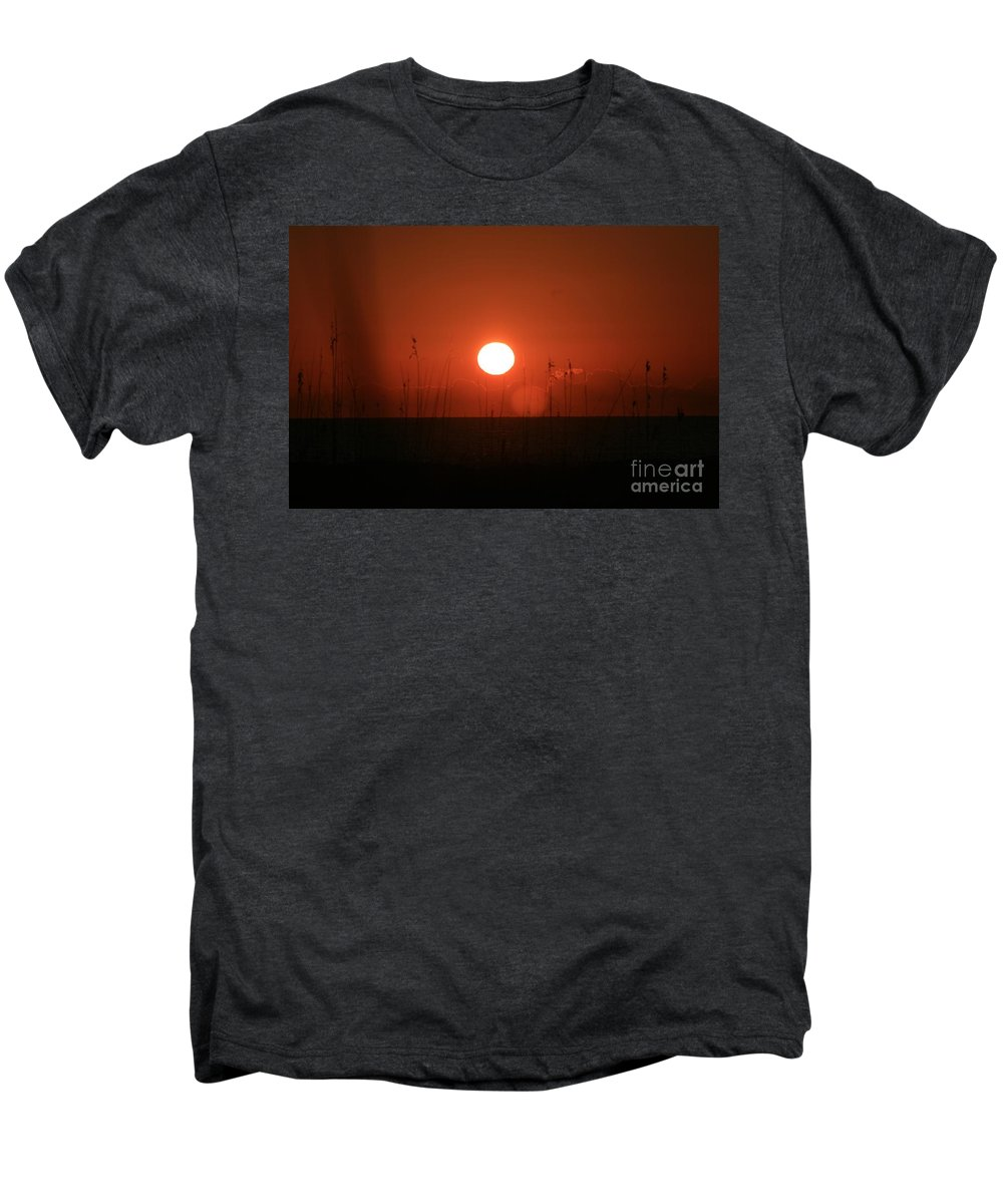 Sunset Men's Premium T-Shirt featuring the photograph Red Sunset And Grasses by Nadine Rippelmeyer