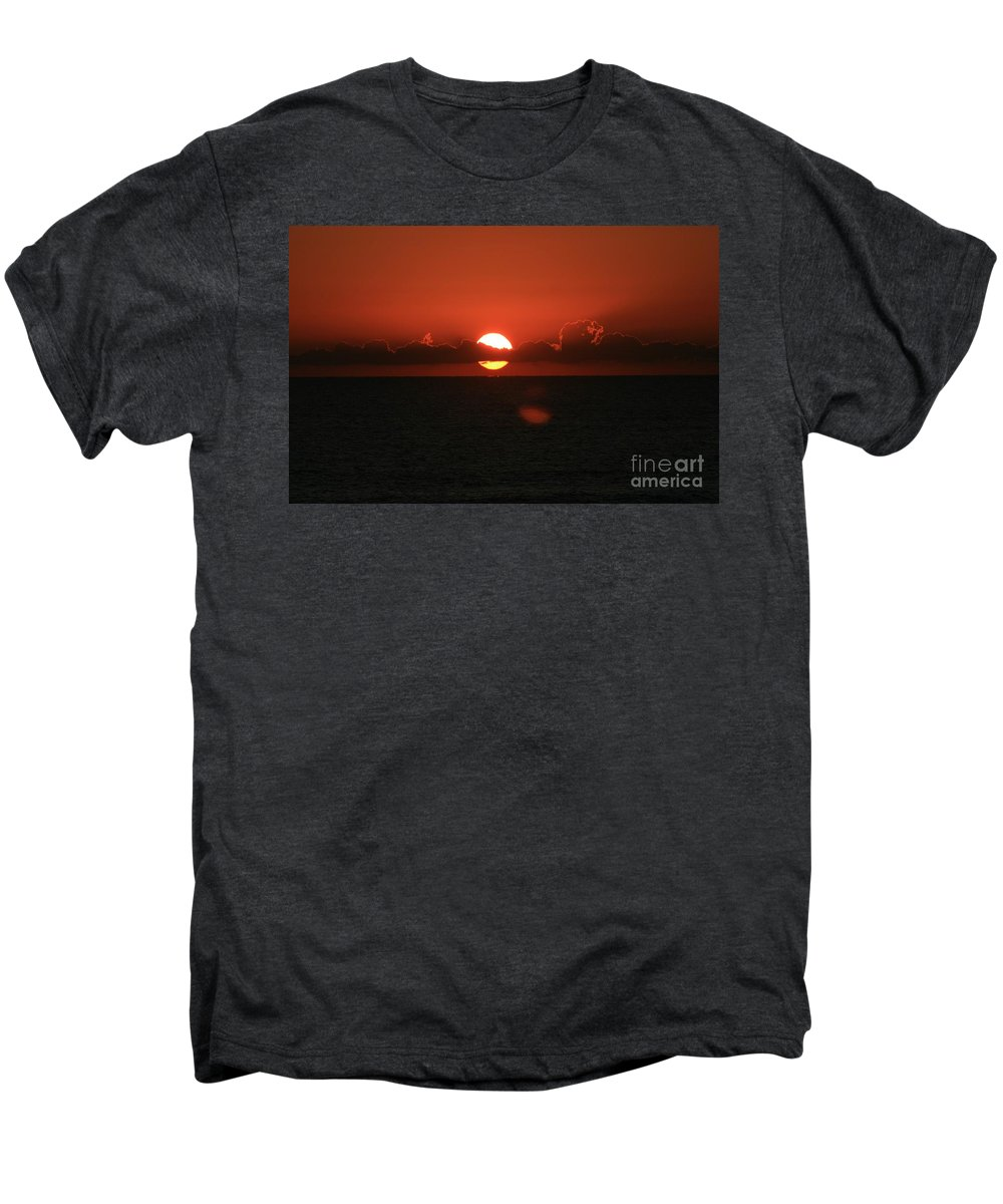 Sunset Men's Premium T-Shirt featuring the photograph Red Sunset Over The Atlantic by Nadine Rippelmeyer