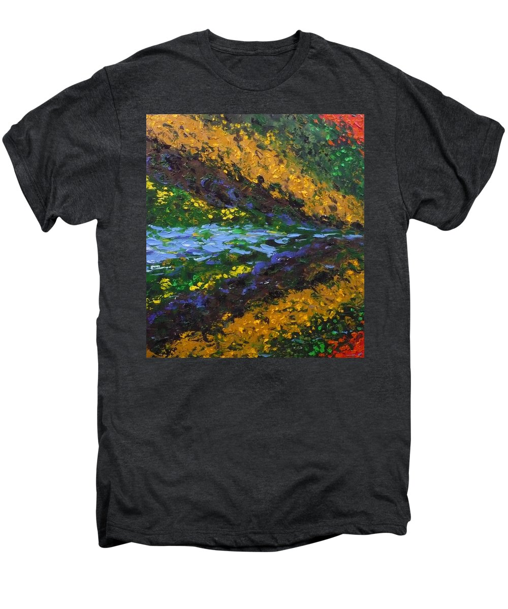 Landscape Men's Premium T-Shirt featuring the painting Reflection One by Ericka Herazo
