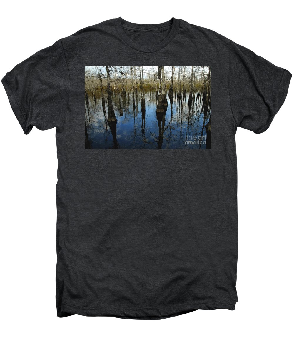 Bald Cypress Trees Men's Premium T-Shirt featuring the photograph Reflections At Big Cypress by David Lee Thompson