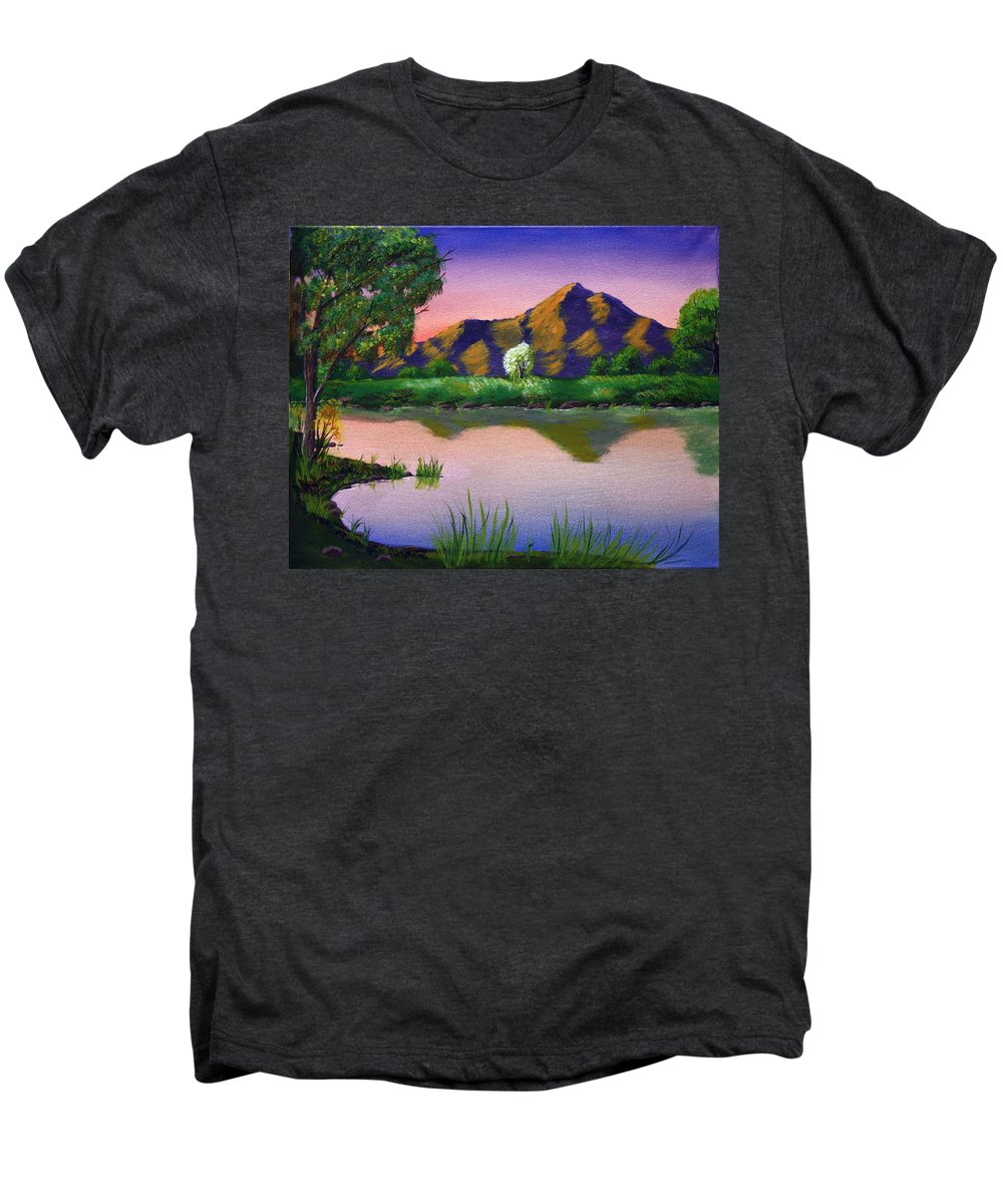 Landscape Men's Premium T-Shirt featuring the painting Reflections In The Breeze by Dawn Blair