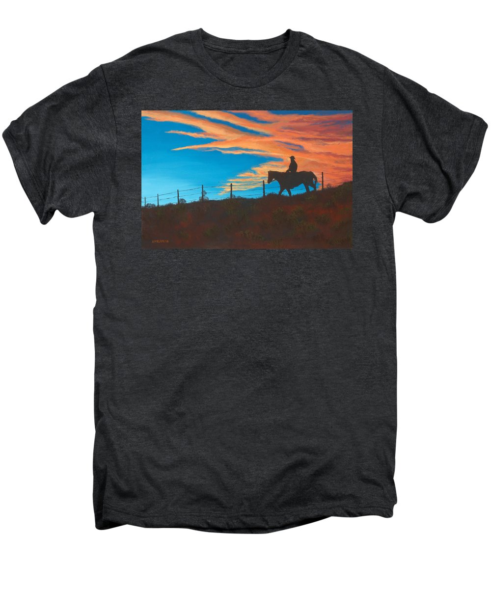 Cowboy Men's Premium T-Shirt featuring the painting Riding Fence by Jerry McElroy