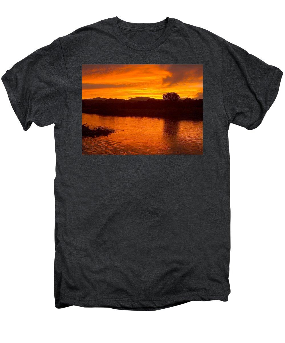 Sunset Men's Premium T-Shirt featuring the photograph Rio Grande Sunset by Tim McCarthy