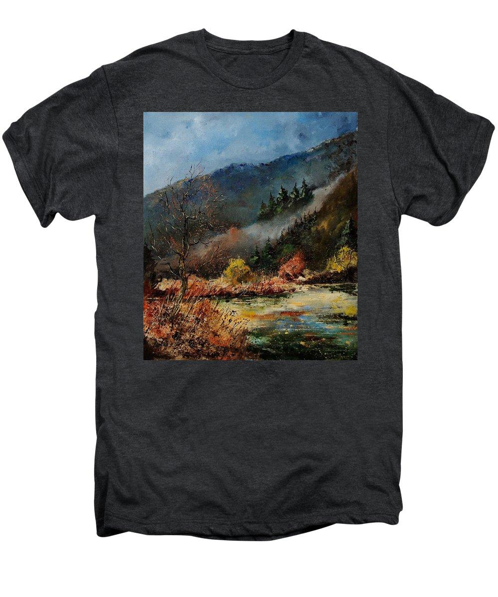 River Men's Premium T-Shirt featuring the painting River Semois by Pol Ledent