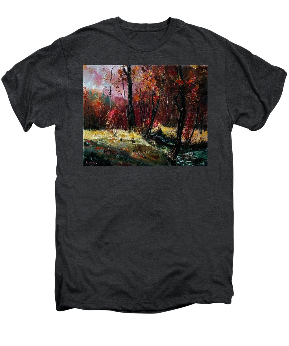 River Men's Premium T-Shirt featuring the painting River Ywoigne by Pol Ledent