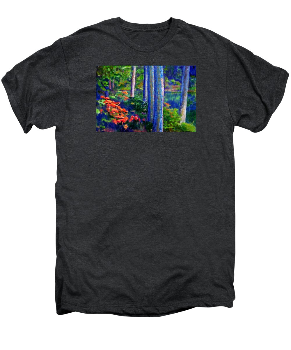 River Men's Premium T-Shirt featuring the painting Rivers Edge by Michael Durst