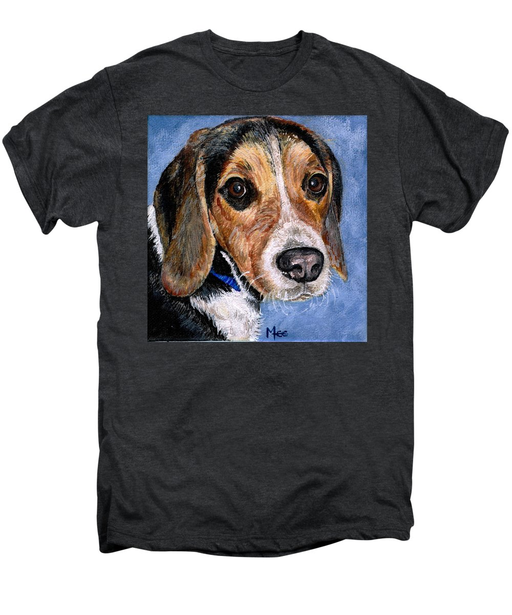 Dog Men's Premium T-Shirt featuring the painting Rocky by Mary-Lee Sanders