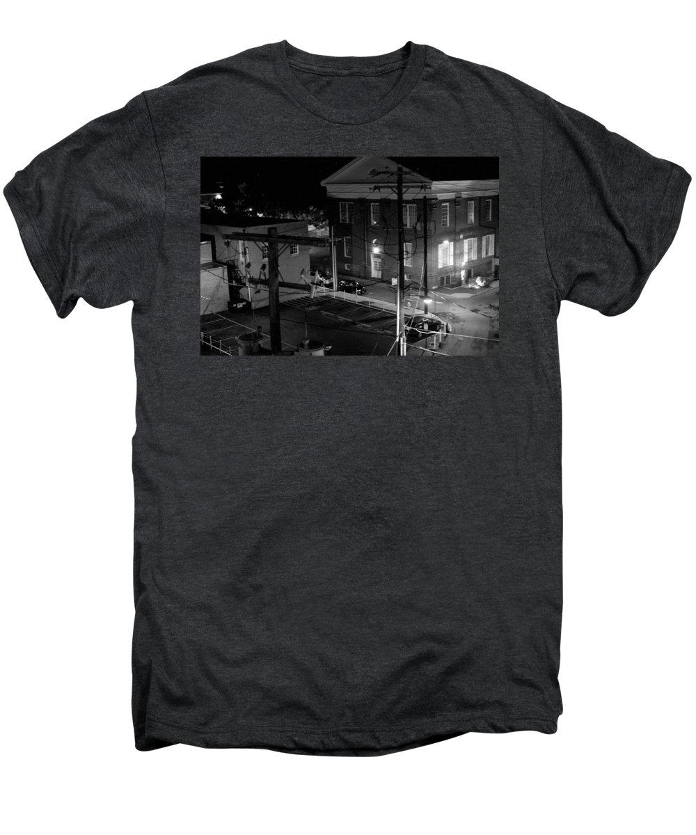 Black White Men's Premium T-Shirt featuring the photograph Rooftop Court by Jean Macaluso