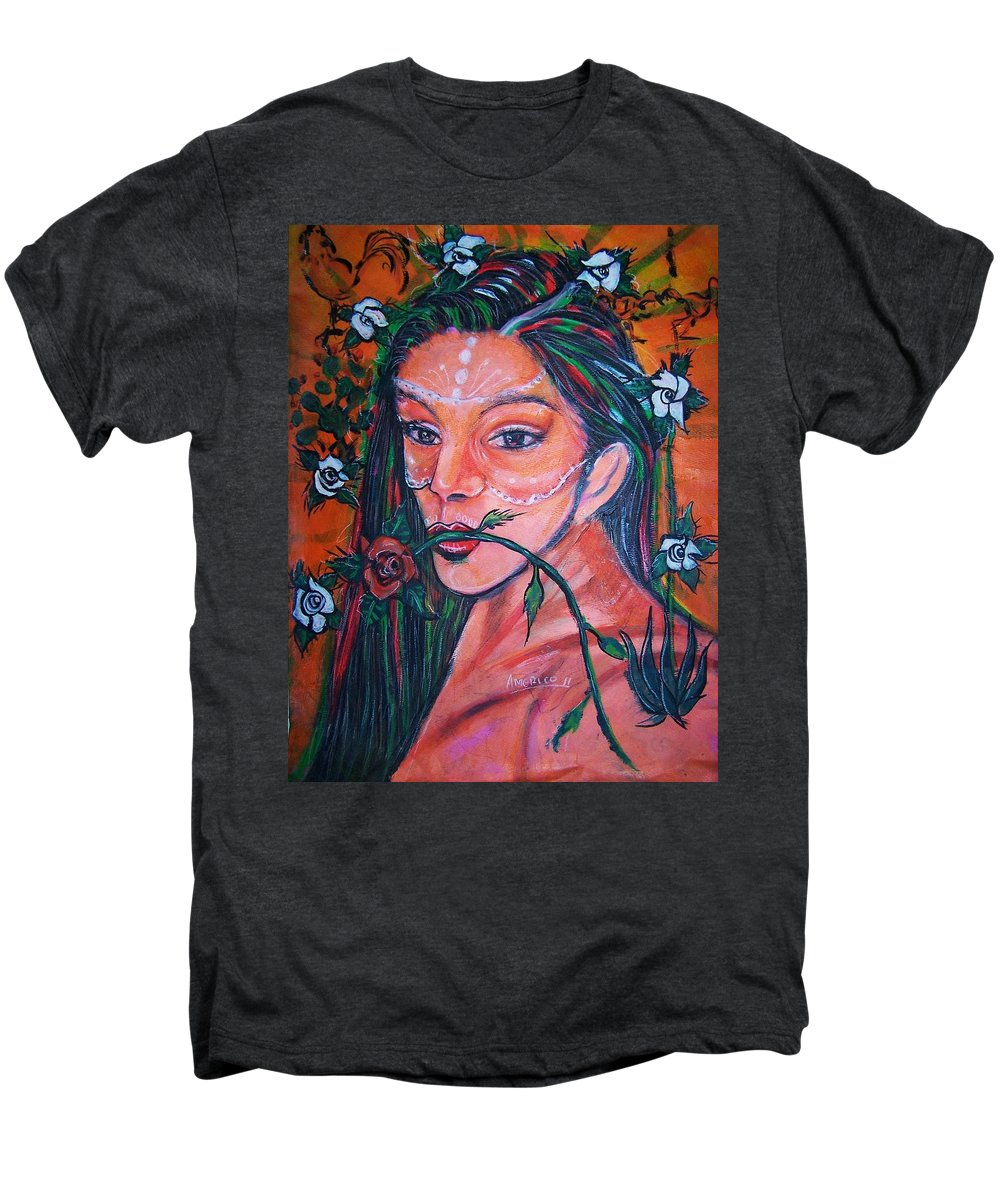 Latina Men's Premium T-Shirt featuring the painting Rosales Latina by Americo Salazar