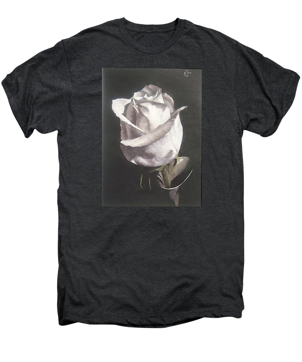 Rose Floral Nature White Flower Men's Premium T-Shirt featuring the painting Rose 2 by Natalia Tejera