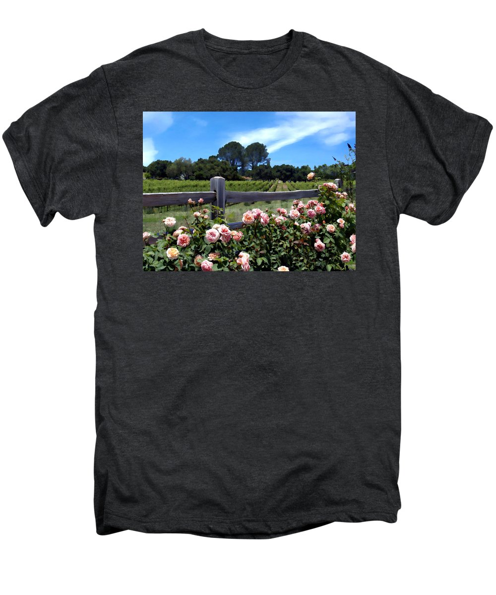 Flowers Men's Premium T-Shirt featuring the photograph Roses At Rusack Vineyards by Kurt Van Wagner