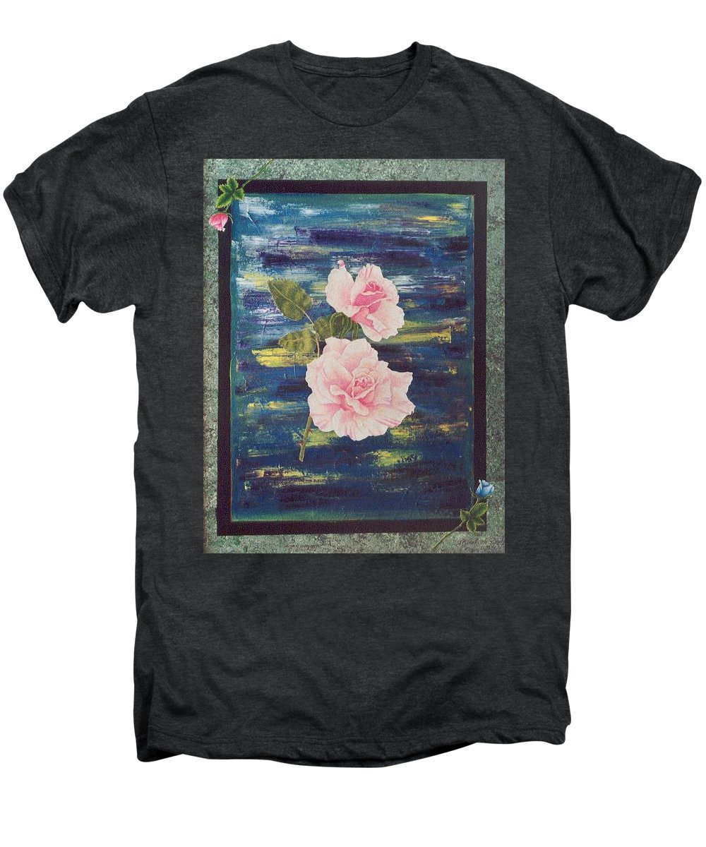 Rose Men's Premium T-Shirt featuring the painting Roses by Micah Guenther