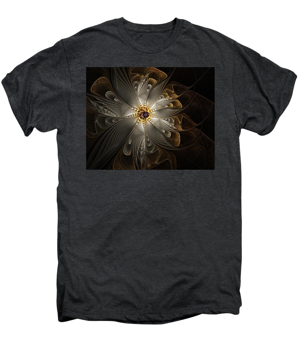 Digital Art Men's Premium T-Shirt featuring the digital art Rosette In Gold And Silver by Amanda Moore