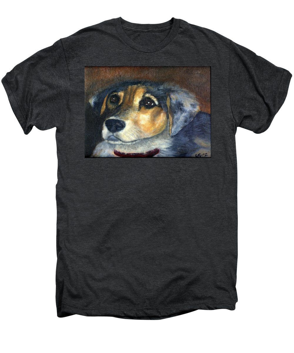 Dog Men's Premium T-Shirt featuring the painting Roxie by Gail Kirtz