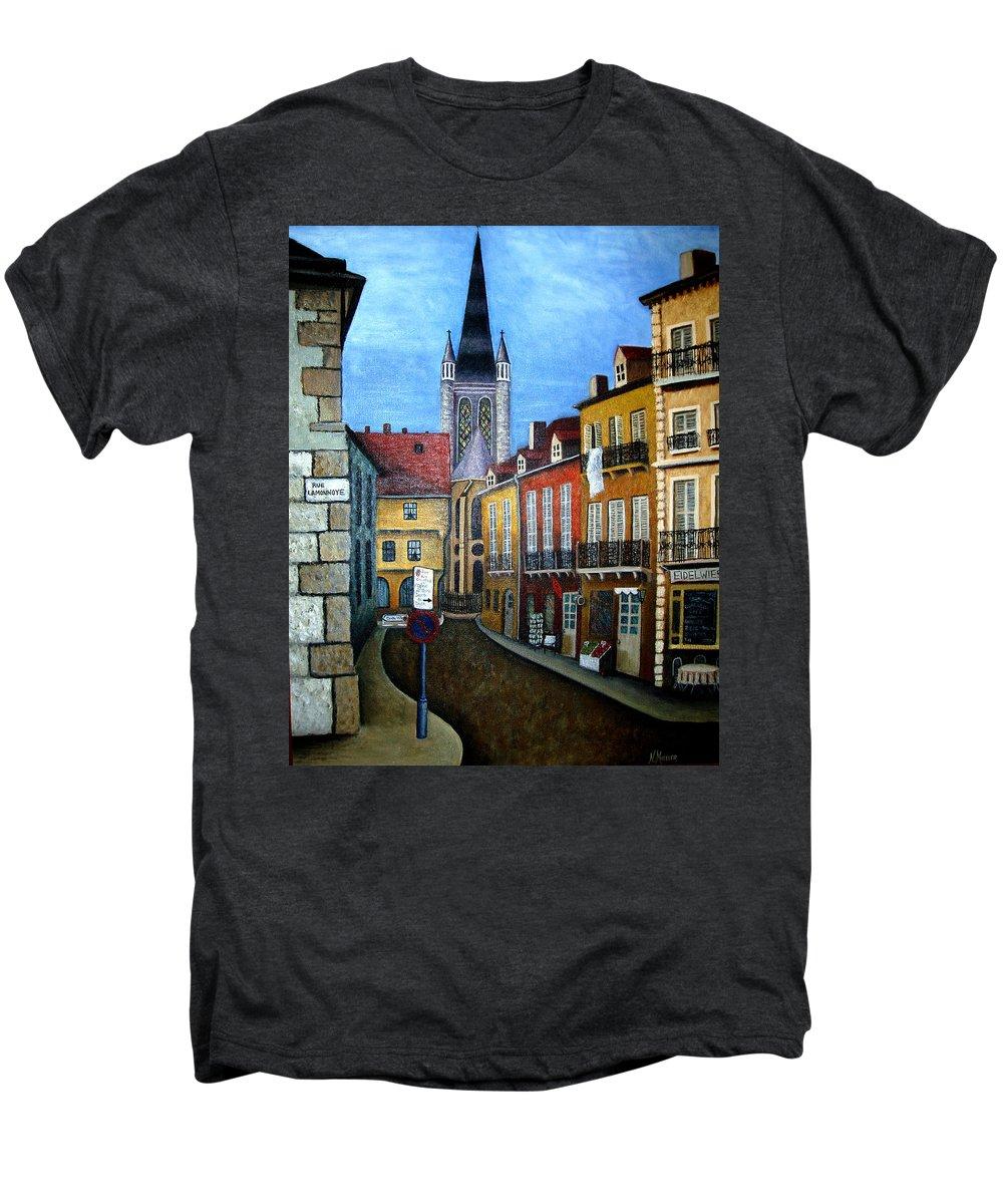 Street Scene Men's Premium T-Shirt featuring the painting Rue Lamonnoye In Dijon France by Nancy Mueller
