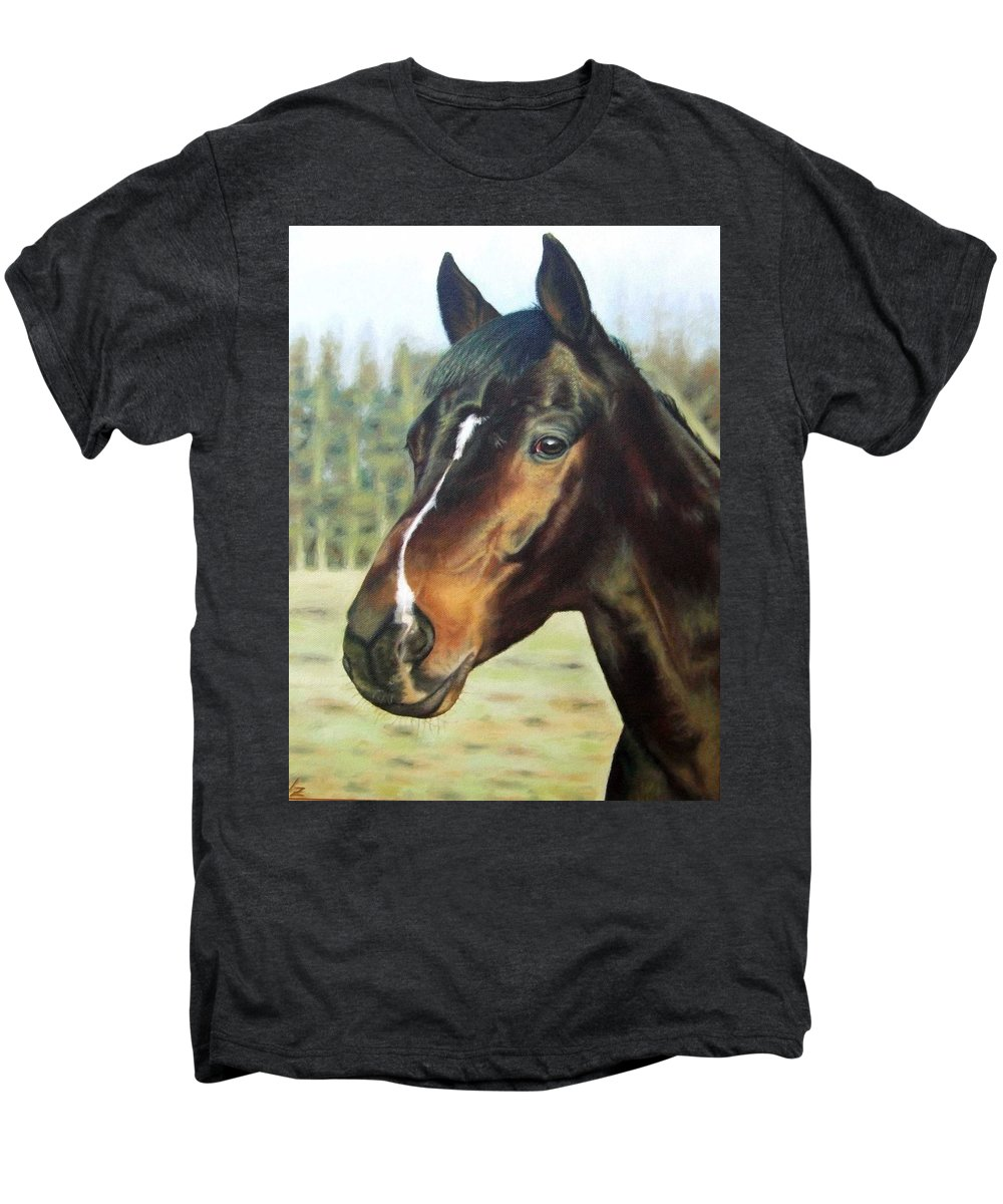 Horse Men's Premium T-Shirt featuring the painting Russian Horse by Nicole Zeug