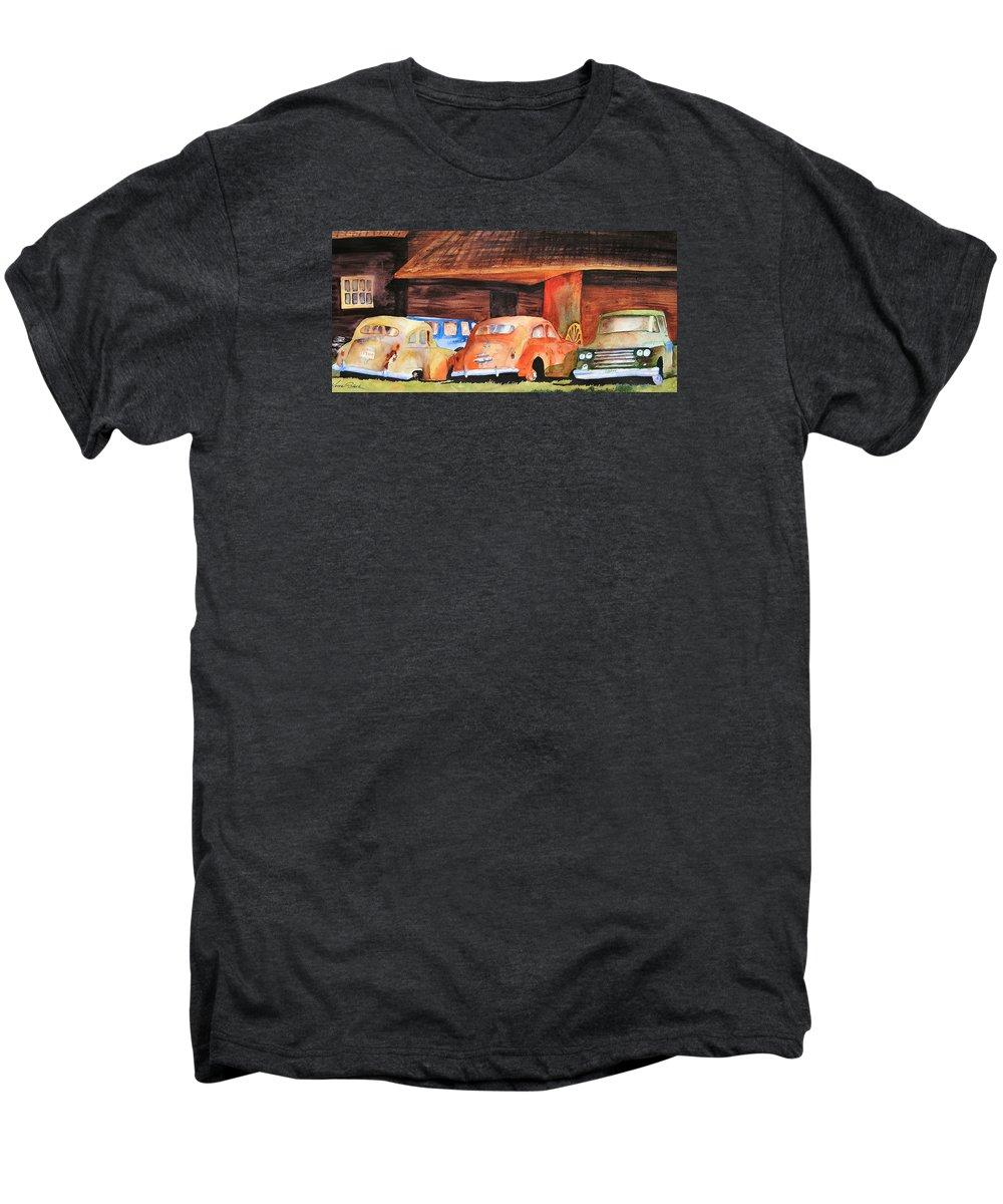 Car Men's Premium T-Shirt featuring the painting Rusting by Karen Stark