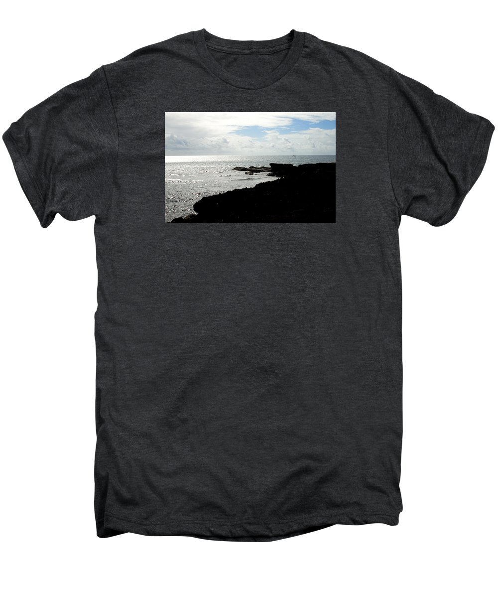 Sailboat Men's Premium T-Shirt featuring the photograph Sailboat At Point by Jean Macaluso