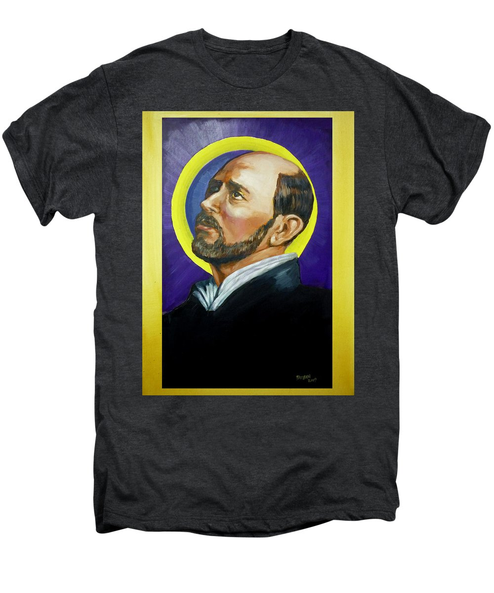 Saint Men's Premium T-Shirt featuring the painting Saint Ignatius Loyola by Bryan Bustard
