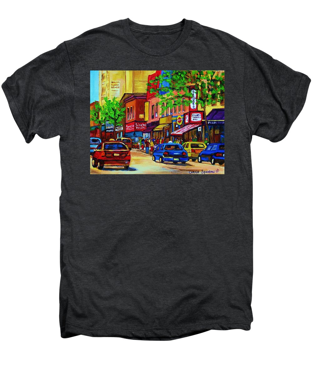 Cityscape Men's Premium T-Shirt featuring the painting Saint Lawrence Street by Carole Spandau